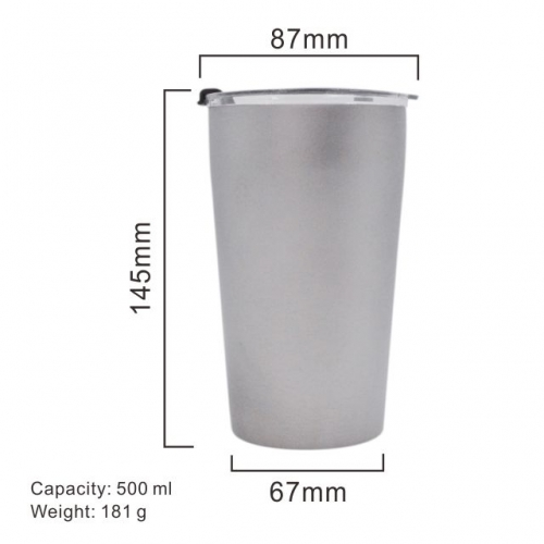 Double Insulated Beer Mug With Lid- Works Great Pure Titanium Beer cup