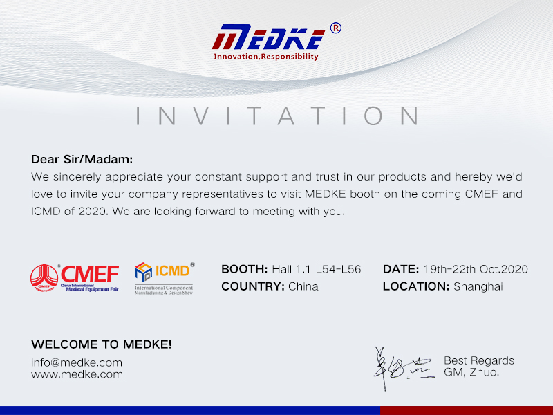 Welcome to visit MEDKE booth on the CMEF and ICMD of 2020