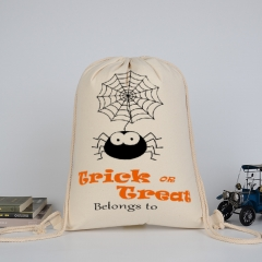 Canvas pull string bag holloween style