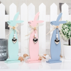 Wooden rabbit decoration country style