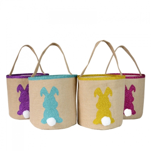 Jute easter candy bag for kids with glitter rabbit print