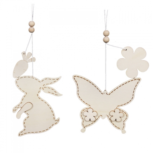 Wooden DIY rabbit and butterfly pendant room decoration for kids