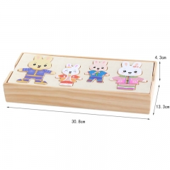 Wooden rabbit family game