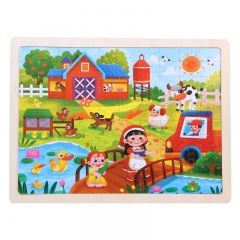 Wooden cartoon puzzle for kids