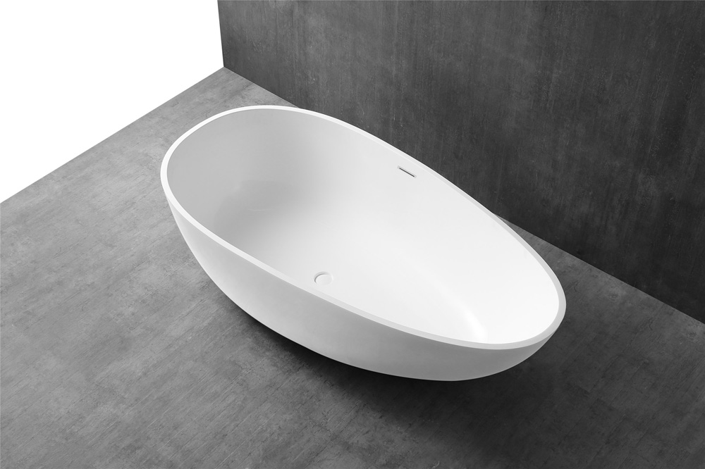 China Solid Surface Bathtub Factory - T&W Oval Egg-Shaped Freestanding Artificial Stone Bathtub XA-8806 Display