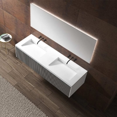 Double Under Counter Sinks Floating Bathroom Vanity Cabinet WBL-0012