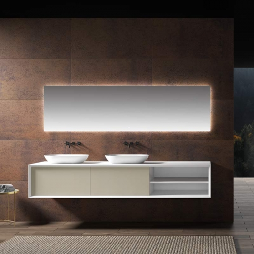 Double Counter Top Sinks Floating Bathroom Vanity Cabinet WBL-2218