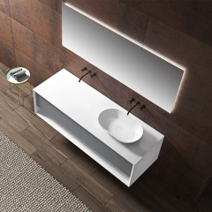 Single Counter Top Sink Wall Mounted Hanging Bathroom Vanity Cabinet WBL-2211