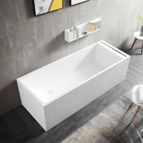 Rectangle Back To Wall Freestanding Stone Resin Bathtub XA-8856A
