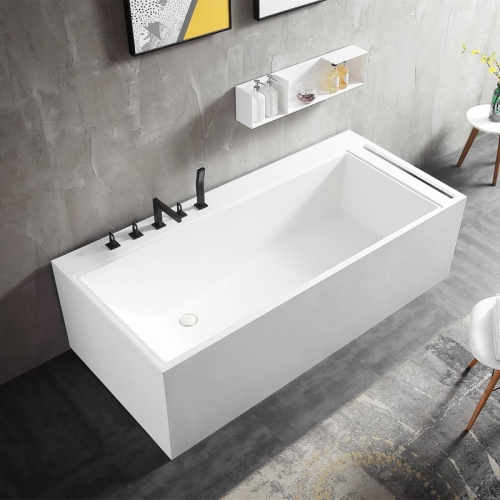 Rectangle Back To Wall Freestanding Stone Resin Bathtub XA-8855A