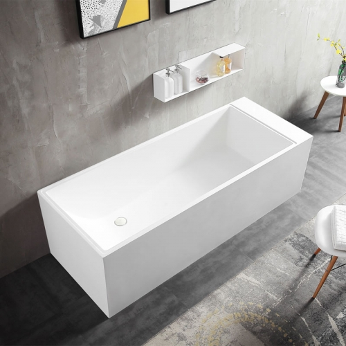 Rectangle Back To Wall Freestanding Artificial Stone Bathtub XA-8856