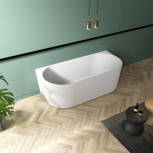 Popular Back To Wall Freestanding Vertical line Acrylic Bathtub TW-7686
