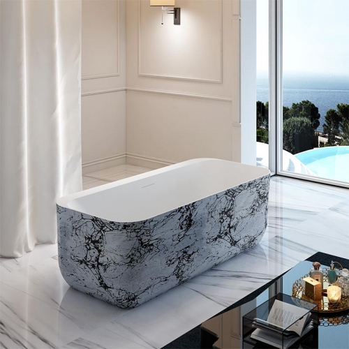High-Quality Rectangle Back To Wall Freestanding Acrylic Bathtub TW-7677S