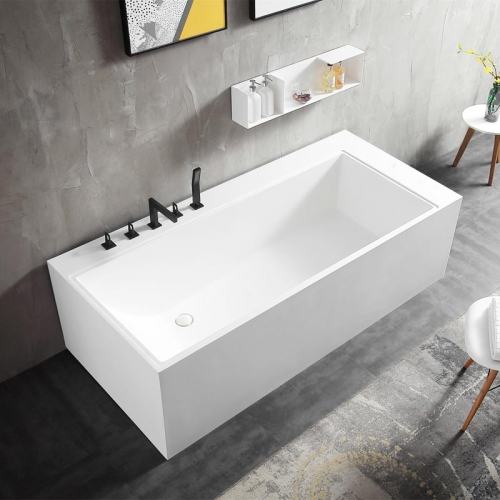 Rectangle Back To Wall Freestanding Stone Resin Bathtub XA-8855