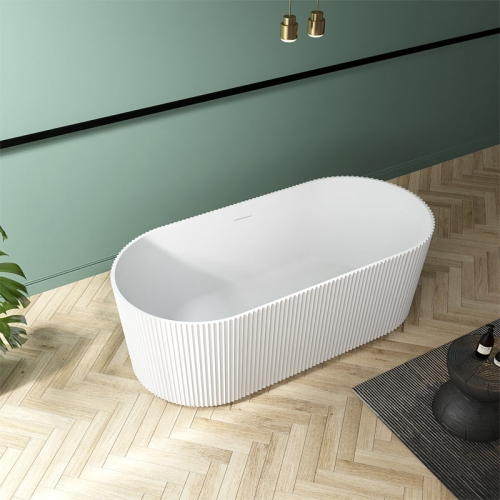 High-End Oval Vertical line Freestanding Acrylic Bathtub TW-7681