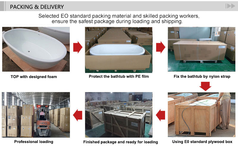 T&W Freestanding Acrylic Bathtub packing and delivery