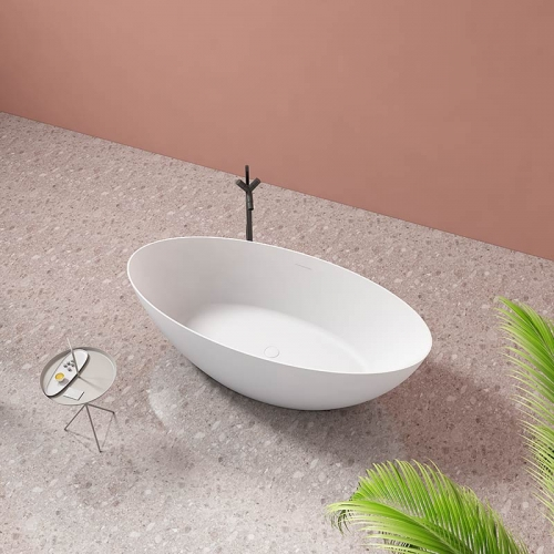 Large Oval Freestanding Artificial Stone Bathtub TW-8612