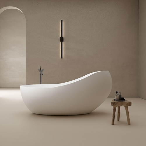 Unique Design Big Oval Freestanding Artificial Stone Bathtub TW-8662