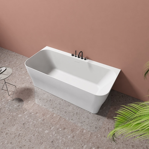 Bcak To Wall Freestanding Artificial Stone Bathtub TW-8609