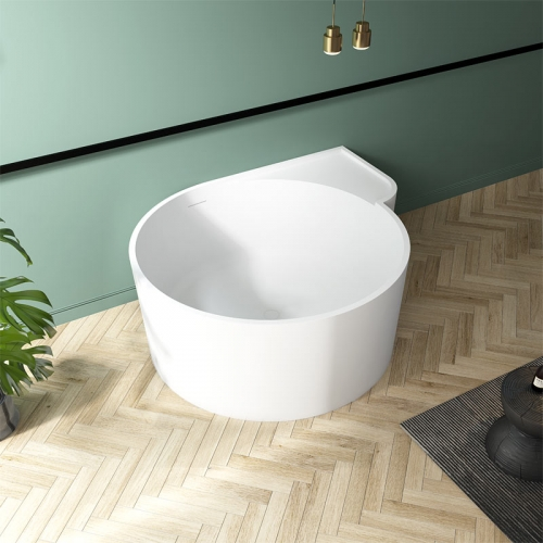 Round Back To Wall Freestanding Solid Surface Bathtub TW-8667
