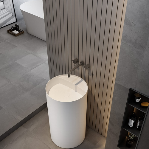 Round Freestanding Pedestal Sink Bathroom Wash Basin TW-Z206