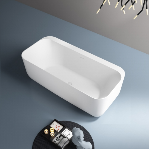 Back To Wall Freestanding Artificial Stone Bathtub TW-8677