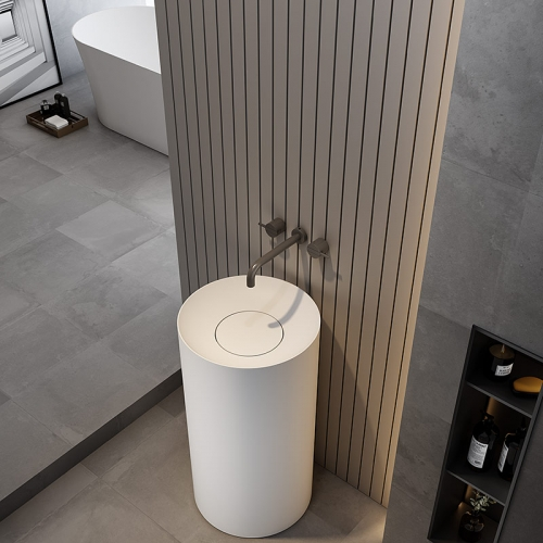 Round Freestanding Pedestal Sink Bathroom Wash Basin TW-Z209