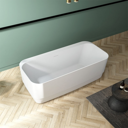 Back To Wall Freestanding Artificial Stone Bathtub TW-8672