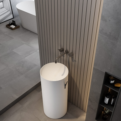 Round Freestanding Pedestal Sink Bathroom Wash Basin TW-Z201A