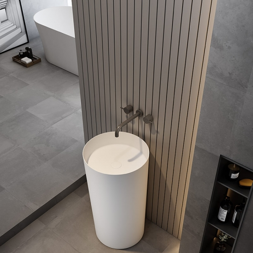 Round Freestanding Pedestal Sink Bathroom Wash Basin TW-Z202