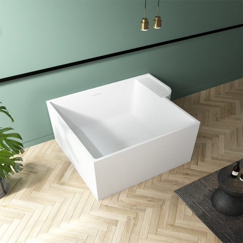 Square Back To Wall Freestanding Solid Surface Bathtub TW-8668