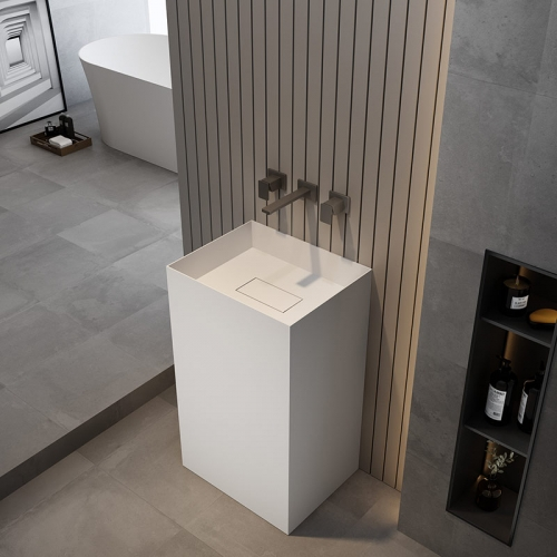 Rectangle Freestanding Pedestal Sink Bathroom Wash Basin TW-Z225