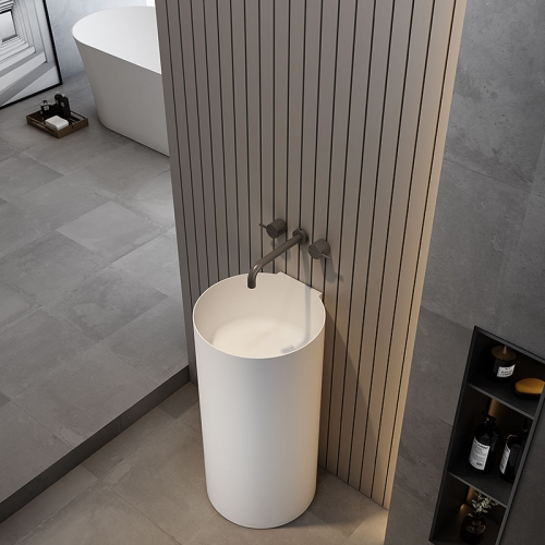 Round Freestanding Pedestal Sink Bathroom Wash Basin TW-Z208