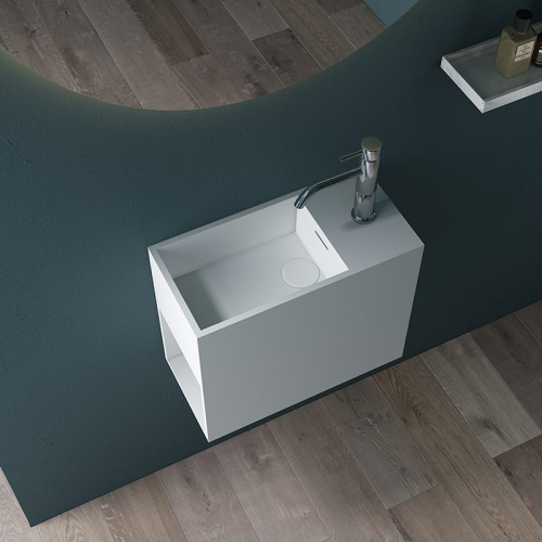 Wall-Mount Hung Artificial Stone Solid Surface Wash Basin Single Bathroom Sink TW-G905