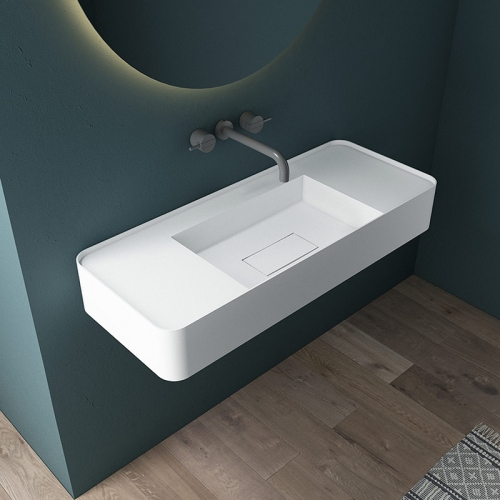 Wall-Mount Hung Solid Surface Wash Basin Single Bathroom Sink TW-G825
