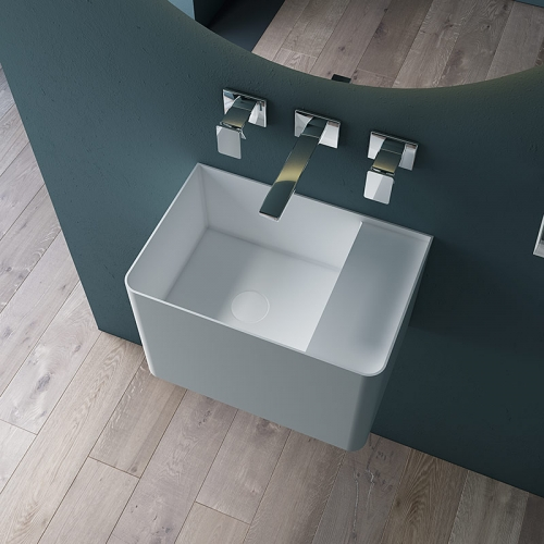 Wall-Mount Hung Solid Surface Wash Basin Single Bathroom Sink TW-G902