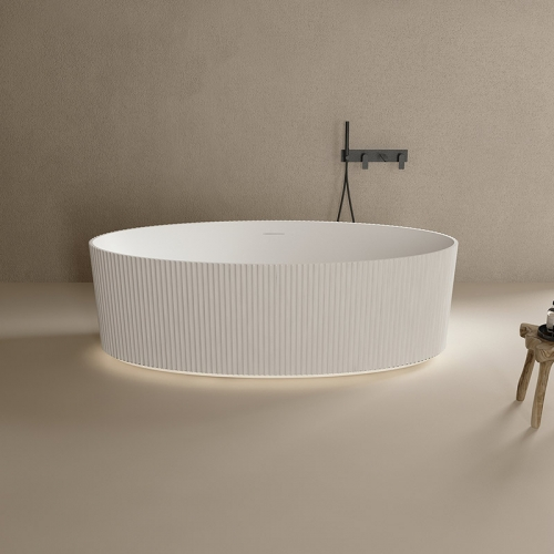 New Oval Vertical line Freestanding Solid Surface Bathtub With Lights TW-8687