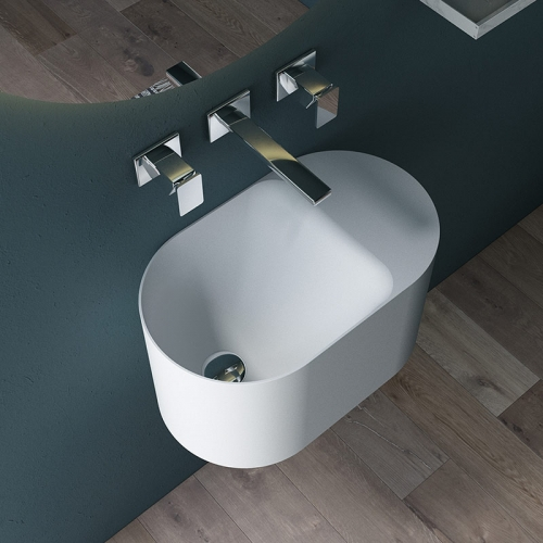Wall-Mount Hung Artificial Stone Wash Basin Single Bathroom Sink TW-G901