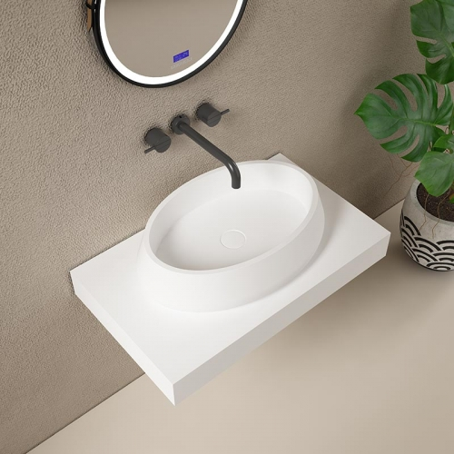 Oval Above Counter Top Artificial Stone Solid Surface Wash Basin Bathroom Sink TW-G8693A