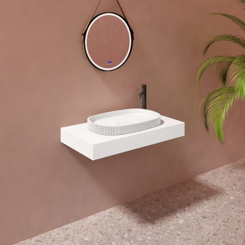 Oval Above Counter Top Artificial Stone Solid Surface Wash Basin Bathroom Sink TW-G8681A