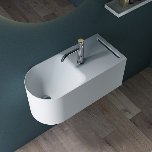 Wall-Mount Hung Artificial Stone Solid Surface Wash Basin Single Bathroom Sink TW-G901A