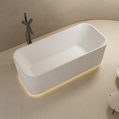 Best Rectangle Vertical line Freestanding Solid Surface Bathtub With Lights TW-8682