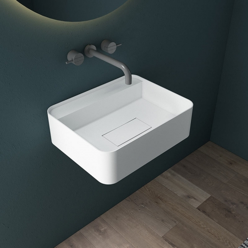 Wall-Mount Hung Solid Surface Wash Basin Single Bathroom Sink TW-G821
