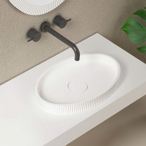 Rectangle Above Counter Top Artificial Stone Solid Surface Wash Basin Bathroom Sink TW-G8687A