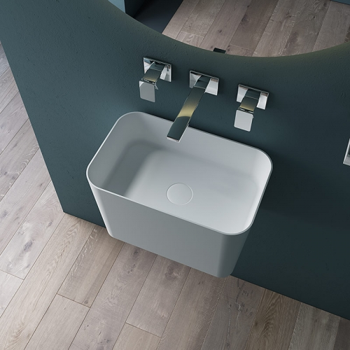 Wall-Mount Hung Solid Surface Wash Basin Single Bathroom Sink TW-G903