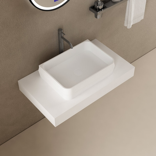 Rectangle Above Counter Top Artificial Stone Solid Surface Wash Basin Bathroom Sink TW-G8636A