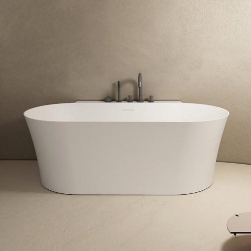 Back To Wall Freestanding Solid Surface Bathtub TW-8620