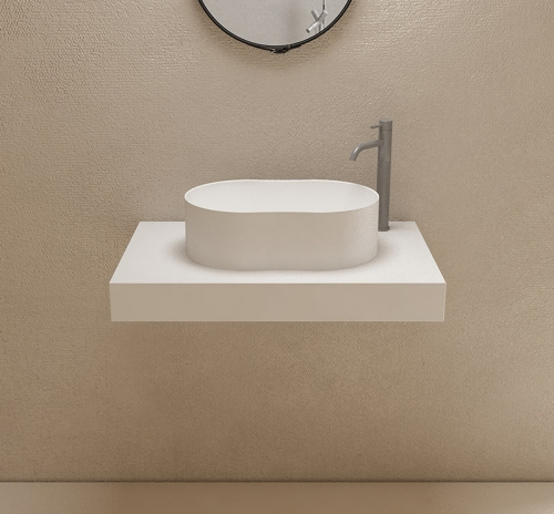 Oval Above Counter Top Solid Surface Wash Basin Bathroom Sink TW-8603A