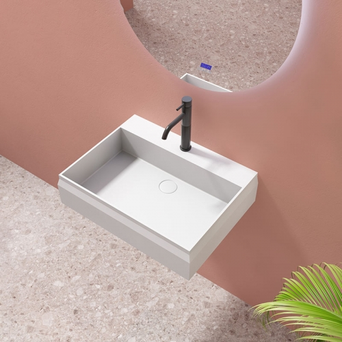 Wall-Mount Hung Artificial Stone Solid Surface Wash Basin Single Bathroom Sink TW-G8635GA