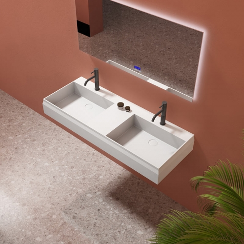 Wall-Mount Hung Artificial Stone Solid Surface Wash Basin Double Bathroom Sink TW-G8635GAA